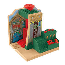 Tidmouth Shed Deluxe Set by Thomas U0026 Friends Wooden Railway Steamworks Lift U0026 Repair Cdk46