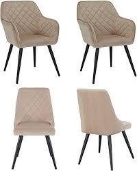 duhome 4er set esszimmerstühle aus stoff samt beige cappuccino retro design polsterstuhl und armlehnstuhl stuhl mit rückenlehne sessel metallbeine
