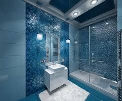 badezimmer blau begehbare dusche glas schiebetüren mosaik