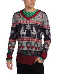 faux real men u0027s ugly frisky deer sweater long sleeve shirt at