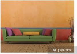 poster grün rot und orange wohnzimmer