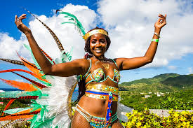 Dressed Up Girl At The Carnival Of Montserrat British Overseas Territory West Indies