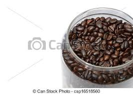 Coffee Bean In Transparent Jars Stock Image