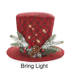 Sdsanea Traditional And Countryside Multicolor Knitted Fabric Top Hat Christmas Tree Topper Red Green White