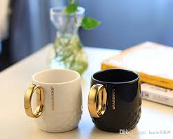 Classic Starbucks Golden Handle Embossed Mug 355ml Black White Mermaid Goddess Ceramic Coffee Cup Couple Cups Gift Best Custom Mugs