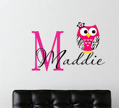 Owl Bedroom Wall Stickers by Childrens Decor Zebra Owl Wall Decal With Name Baby Nursery Wall