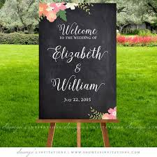 Chalkboard Wedding Signs Welcome Sign Printable Calligraphy Rustic Decorations Floral Ceremony