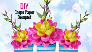 DIY Easy Paper Craft How To Make Pretty Crepe Flower Bouquet