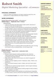 Ecommerce Resume Digital Marketing Specialist Sample Project Manager