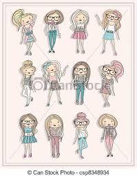 Cute Little Fashion Girls Vector