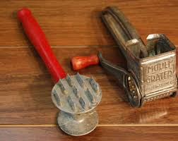 Vintage 1940s Kitchen Tools Farmhouse Meat Tenderizergrater Red Handles