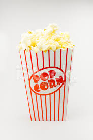 Classic box cinema popcorn on white background