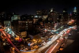 Free stock photo of city empire state building light trails