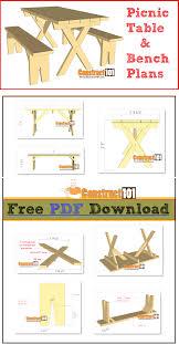 picnic table u0026 bench plans pdf download bench plans picnic