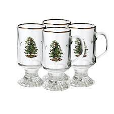 Amazon Com Spode Christmas Tree Set Of 4 Irish Coffee Mugs 5 1 2
