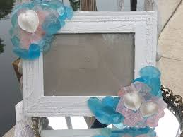 Aqua Pink Seaglass Crackle Rustic 5x7 Frame With Natural