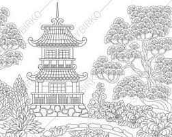 Adult Coloring Pages Japanese Garden Zentangle Doodle Book For Adults Digital