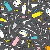 I Love Art Class Back To School Artist Supply Illustration Pattern