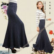 Autumn And Winter Full Vintage Fashion Casual Stretch Knitted Maxi Skirts Gray Blue Black Fishtail