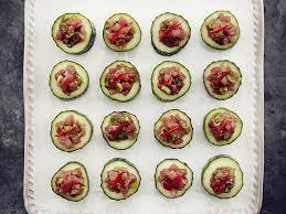 healthy canapes recipes wasabi tuna tartare on cucumber cups recipe s health