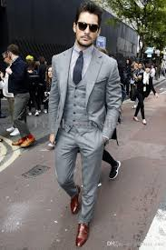 wholesale 2017 new arrival mens light grey suits fashion formal