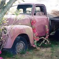 100 Pink Truck FL132 Ginger Blue Decor