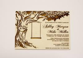 Tree With Swing Wedding Invitations Wood Invitation Oak Rustic Backyard Country
