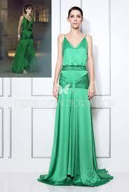 green satin v neck keira knightley a line open back evening prom
