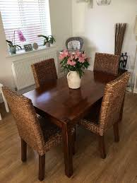 Lovely Wooden Dining Table And 4 Wicker Chairs | In Lymington, Hampshire |  Gumtree Wicker Ding Room Chairs Sale House Room Marq 5 Piece Set In Brick Brown With By Mfix Fniture Durham Outdoor 7 Acacia Wood Christopher Knight Home Invite Friends And Family To Your Outdoor Ding Space Round Kitchen Table With It Would Be Nice If Solid Bermuda Pc Side Model 1421set1 South Sea Rattan A Synthetic Rattan Outdoor Ding Table And Six Chairs 4 High Back 18 Months Old Lincoln Lincolnshire Gumtree Amazoncom Direct Pieces Allweather Sahara 10 Seat Teak Top Kai Setting