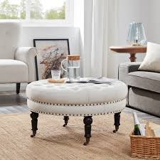 Details About NEW Round Ottoman Footstool Tufted Bedroom Living Room W/  Caster, Beige Brampton Traditional Upholstered Chair With Rolled Arms And Casters By Robin Bruce At Rooms Rest Del Sol Af Dundee 96675 Accent Huntington House 7366 Navy Blue Ding Room Chairs Without Set Sydney With Brass Caster Lexington Home Brands Escapecoastal Living Collection Kiawah Sofa Amusing Of Fniture Sitting Two Amazoncom Fubas Lounge Classic Tufted Linen Fabric Shelter Wing Armchair Grey Tables Lazboy Atemraubend Small Swivel Power Recliners Tub Desk For Klaussner Cameron K4000 Oc