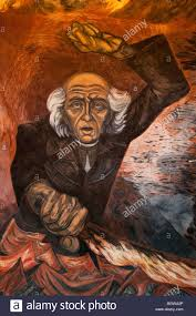 detail of flaming hidalgo mural by josé clemente orozco at