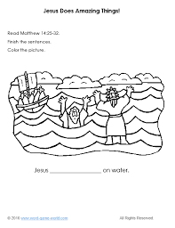 Jesus Walks On The Water Coloring Page Bible Pages For Does Amazing Things