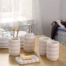 einfache rosa keramik bad produkte gestreiften spenderflasche gericht zahnbürstenhalter bad accessoires sets hohe qualität