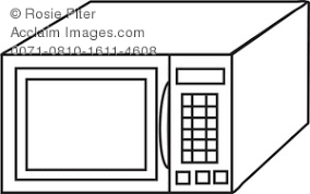 Coloring Page Drawing of a Microwave Oven Royalty Free Clip Art Illustration