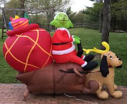 Grinch Blow Up Yard Decoration by Image Gemmy Airblown Inflatable Grinch In Sleigh With Max