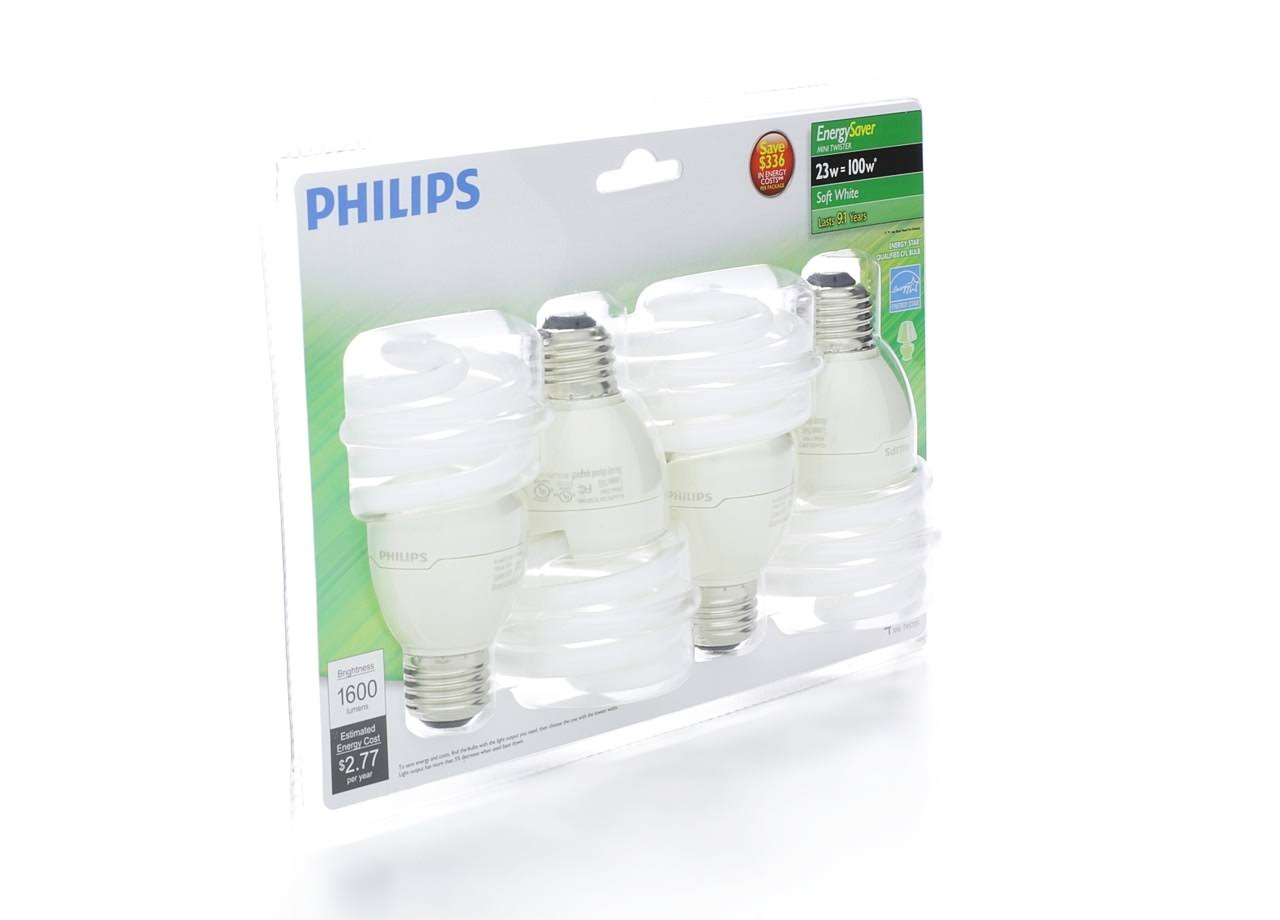 Philips 417097 Energy Saver CFL Light Bulb - 4pk, 23W, Soft White
