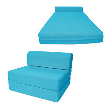 D&D Futon Furniture Turquoise Sleeper Chair Folding Foam Bed Sized 6