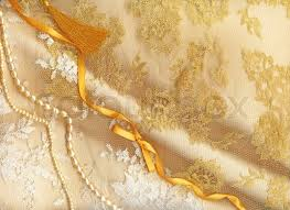 Wedding Background With Cream Silky Decoration Accessories Lace And Pearls