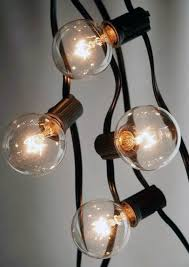 String Lights For Patio by Outdoor Patio String Light Set G40 Clear Globe Bulbs 28 Ft Black