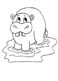 Free Hippo African Animal Coloring Pages