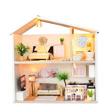 DIY Miniature Kit Wooden Toy Model Building Doll House Modern House Kid Gift LED Light