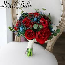 Modabelle Vintage Red Royal Blue Brooch Bouquet Buque De Noiva