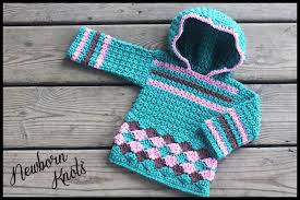crochet pattern for baby boy or girls pullover hooded sweater