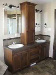 tower in center of bath vanity double vanity with a custom tower
