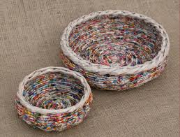 Make Rolled Paper Wicker Baskets Round Circular
