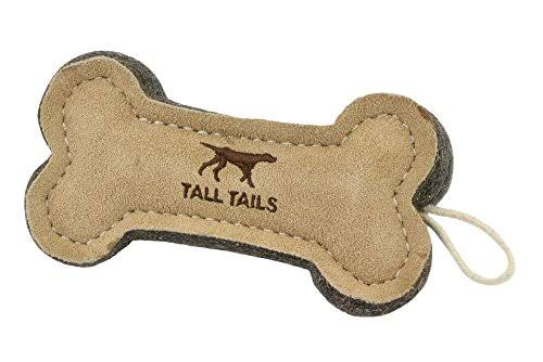 Tall Tails Natural Wool & Leather Bone Dog Toy, 6""