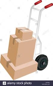 Hand Truck Or Dolly Loading A Stack Of Sealed Cardboard Boxes Stock ...