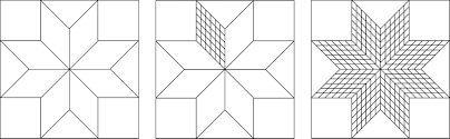 The Diamond Units In A Traditional Eight Pointed Star Block Left Can Be Fragmented Center We Know This Design As Lone Quilt