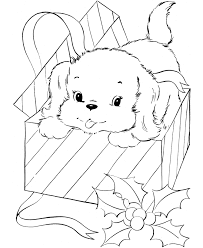 Christmas Puppy Coloring Pages 1