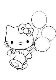 Hello Kitty With Balloons Birthday Coloring Pages